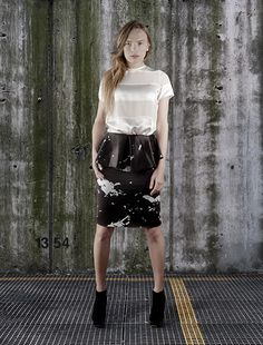 digitally printed peplum skirt (detachable dress) with silk satin blouse, part of the collection titled CONSTRUCTION TECHNIQUES