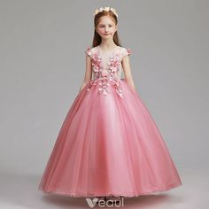 c70457ff2a1 Flower Fairy Candy Pink Flower Girl Dresses 2019 A-Line   Princess Scoop  Neck Cap Sleeves Appliques Lace Flower Pearl Floor-Length   Long Ruffle  Wedding ...