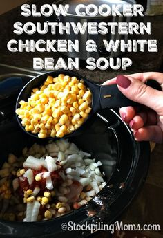 Slow Cooker Southwestern Chicken & White Bean Soup is an easy crockpot recipe that you can also make as a freezer meal!
