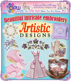 Beautiful and intricate, machine embroidery designs, from Artistic Designs!