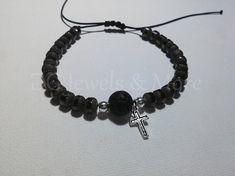 Black glass sandblasted beaded men adjustable bracelet with black lava and cross