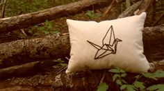 Paper Crane Embrodiered Pillow. $17.00, via Etsy.