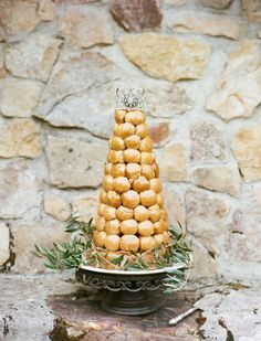 Snippets, Whispers & Ribbons - Wedding Cakes & Toppers Croque Em Bouche Tower with Crown Topper