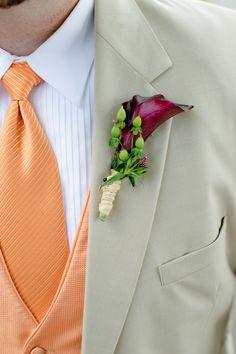 Perfectly Purple Bout! :  wedding ceremony flowers green groom lily orange plum purple tan suit  DSC7658