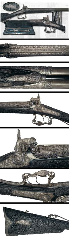 This particular shotgun was presented in 1879 by M. Paul Jules Grevy, Fourth President of France, as a gift to Don Manuel Gonzalez, President of Mexico.