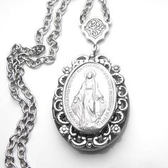 Miraculous Medal Antique French Silver Holy Medal Locket Virgin Mary, Miraculous, French Antiques, Pocket Watch, Antique Silver, Silver Plate, Vintage Fashion, Brass, Chain