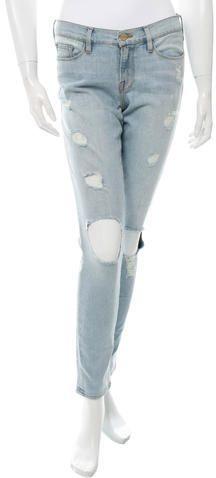 Frame Denim Le Skinny De Jeanne Distressed Jeans w/ Tags Distressed Frames, Distressed Jeans, White Skinny Jeans, Frame Denim, Stylish, Pants, Zipper, Shopping, Tops