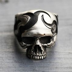 925 Sterling Silver Trabal Skull Ring By by 925SilverPetrichor, $200.00