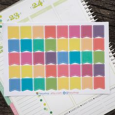 40 Colourful Page Flags Sticker Planner by FasyShop on Etsy