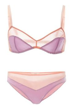 The Prettiest Lingerie to Shop This Valentine's Day Here's what to lingerie to wear for Valentine's Day! Candy Crush A beautiful candy-colored silk set that's super easy-on-the-eyes.   Araks Beatrice Bralette, $100; modaoperandi.com. Aaron Panty, $65; modaoperandi.com. - intimates plus, pink lingerie, where can i get lingerie *ad