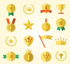 Flat Medal Icon Set Vector