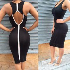 Backless Sleeveless Pure Color O-neck Knee-length Dress