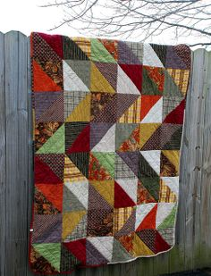 "good idea for a ""man"" quilt - love this, but I don't think it looks like a man quilt :)"