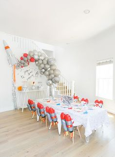 Let's just say, Royale of But First, Party! set the bar high with this stellar rocket ship space birthday party for her very own little astronaut! Kids Party Themes, Birthday Party Decorations, Party Ideas, Party Favors, First Birthday Parties, Boy Birthday, Birthday Ideas, Frozen Birthday, Nasa Party