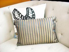 $16.88  Gold Navy Blue Stripe Designer Pillow Cover by duncanandbirch