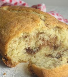 "Cinnamon Sugar Quick Bread  2 c. AP flour  1 Tb. baking powder  1/2 tsp. salt  1 c. white sugar  1 egg, beaten  1 c. milk  1/3 c. veg oil  Combine 1st 4 ingred. Add wet.  Stir to moisten.  Pour 1/2 batter into lightly greased 9x5"" loaf pan. Sprinkle w/ 2 tsp cinnamon & 1/3 c sugar. Cover with remaining batter. Top with more cinnamon/sugar.  Bake in preheated 350° oven for 45-50 minutes, or till toothpick inserted into center of loaf comes out clean.   Cool in pan 10 minutes; then rack."
