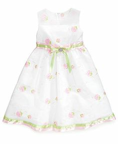 Rare Editions Little Girls' Embroidered Organza Social Dress