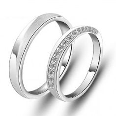 New Simple Design 925 Sterling Silver White Gold Plated Cubic Zirconia Lovers Rings (Price For a Pair) - USD $77.95