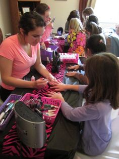 manicure time with Little Miss Spa Parties.  www.LittleMissSparties.com