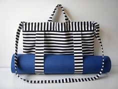 Yoga Mat Tote Bag Black White Stripes with Straps by BabiminiS