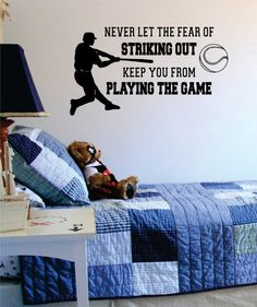 Never Let The Fear of Striking Out Baseball Quote Sports Decal Sticker Wall Vinyl