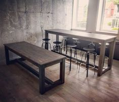 Made 2 wooden tables out of construction lumber. The first one is a standard dining table, the second a higher bar table for barstools. High Bar Table, Wooden Tables, French Style, Furniture Ideas, Bar Stools, Dining Bench, Projects, Home Decor, Wood Tables