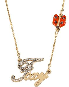 WORD NECKLACE FOXY WITH FOX GOLD betsey johnson accessories jewelry necklaces fashion