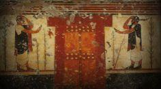 ** PINTURA MURAL ::: Tumba de los AUGURES, en TARQUINIA h. 520 a.C. - escenas de lucha entre atletas y animales, donde dos de los invitados se despiden seguramente del difunto