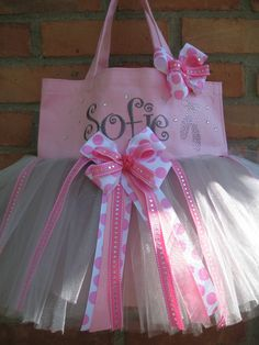 Pink Embroidered Dance Bag with Rhinestone ballet por gkatdesigns