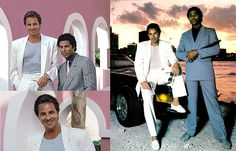 This is an example of 1980s mens fashion. Men in the 80s tended to dress differently; however many styles were taken from what men in TV were wearing. This show, Miami Vice featured men wearing often wearing very casual shirts under large boxy blazers.