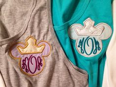 Princess Crown Women's Monogram Disney Applique Minnie Mouse Tank, Short or Long Sleeve Pocket Tee, T-Shirt Vacation on Etsy, $24.00. OH MY GOSH IT'S AURORA'S CROWN ON A DISNEY MONOGRAM TANK. I'M OFFICIALLY IN LOVE!