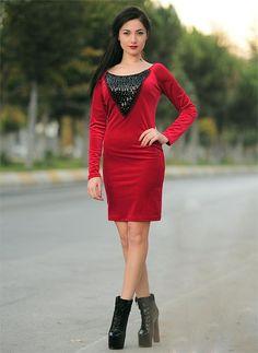 Bayan Elbise Kadife Taşlı Kırmızı | Modelleri ve Uygun Fiyat Avantajıyla | Modabenle