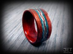 Bolivian Rosewood Bentwood Ring with Hand by JETbentwoodjewelry