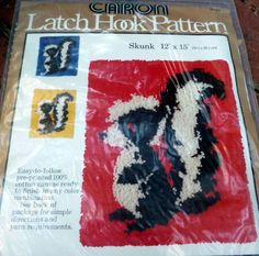 "Vintage CARON Latch Hook Pattern Kit SKUNK 12"" x 15"" New unopened"