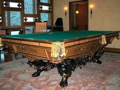 The Monarch: antique Brunswick pool/billiards table for sale Antique Pool Tables, Brunswick Pool Tables, Custom Pool Tables, Restoration Services, Billiard Room, Antiques, Stairs, Victorian, Rooms
