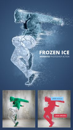 Frozen Ice Gif Animated Photoshop Action - Photo Effects Actions art man Photoshop Design, Photoshop Tutorial, Cs6 Photoshop, Photoshop Brushes, Photoshop Effects, Photoshop Youtube, Advanced Photoshop, Photoshop Action Free, Photoshop Lessons