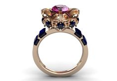14k Rose Gold Engagement Ring Blooming Flower with Pink by VOLISA, $1150.00