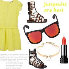 Look # 23-Jumpsuit-Gladiator Sandals-Sunglasses-Necklace - Style Spacez
