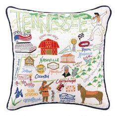 Tennessee Embroidered Pillow. Product in photo is from www.wellappointedhouse.com