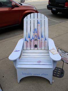 Decorated Adirondack chairs in La Grange, IL Wood Chairs, Painted Chairs, Painted Furniture, Adirondack Chairs, Outdoor Chairs, Outdoor Furniture, Outdoor Decor, Teacher Chairs, Disney Furniture