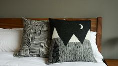 Donna-Wilson-Patterned-Cushions Cloud Cushion, Cushion Pads, Black And White Cushions, Monochrome Bedroom, Bed Company, Moon Design, Printed Cotton, Print Design, Black And Grey