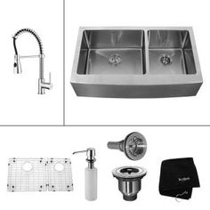 KRAUS, All-in-One Farmhouse Apron 36x20-3/4x10 0-Hole Double Bowl Kitchen Sink with Chrome Kitchen Faucet, KHF203-36-KPF1612-KSD30CH at The Home Depot - Mobile