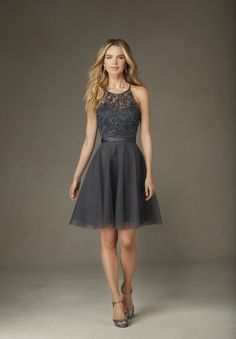 Wedding Dresses, Bridesmaid Dresses, Prom Dresses and Bridal Dresses Mori Lee Tulle Affairs - Style 135 [135] - Mori Lee Tulle Affairs Bridesmaid Dresses, Spring 2016. Tulle cocktail dress with Embroidery, Beading, and Satin Waistband. Shown in Charcoal.