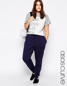 ASOS CURVE Sweat Pant in Navy