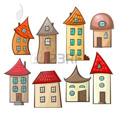 Set Houses a set of hand-drawn cartoon houses in different styles Created: GraphicsFilesIncluded: JPGImage Layered: No MinimumAdobeCSVersion: CS Tags: apartment House Quilt Patterns, House Quilts, Drawing For Kids, Art For Kids, Cartoon House, Cartoon City, House Colouring Pages, Zentangle, Art Carte