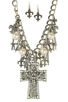Love how well this all works together :)M Western Products® Silver Cross with Fleur de Lis and Pearls Jewelry Set