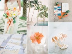 Peach and blue color palette for a poolside #wedding | http://burnettsboards.com/2014/01/pretty-poolside-wedding/