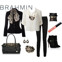 The #brahmin Crystal Roll Top Satchel compliments any classic black and white style.