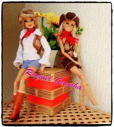 rachelcrochet.wordpress.com #Barbie #Doll #Crochet #Roupa #Country #Cléa5 #Muñeca #RaquelGaucha