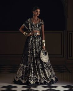 """Tarun Tahiliani on Instagram: """"Embodying a rhythm divine and an alluring sense of mystery, Priya is seen in our charcoal sheer silk lehenga with contrasting resham aari…"""" Wedding Saree Blouse, Bridal Lehenga, Bridal Outfits, Bridal Dresses, Silk Lehenga, Indian Couture, Party Wear, Indian Fashion, Short Sleeve Dresses"""